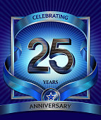 25 years anniversary design template for invitation, advertising, banner, vector design
