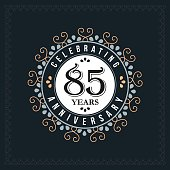 85 years anniversary design template. Vector and illustration. celebration anniversary logo. classic, vintage style