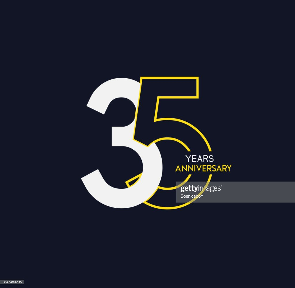 35 Years Anniversary Elegance Gold Logo Linked Number On Dark
