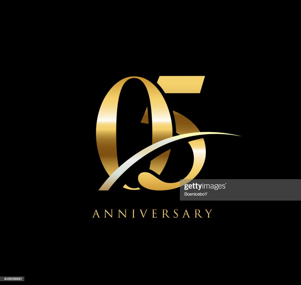 5 Years Anniversary Elegance Gold Symbol Linked Number With Swoosh