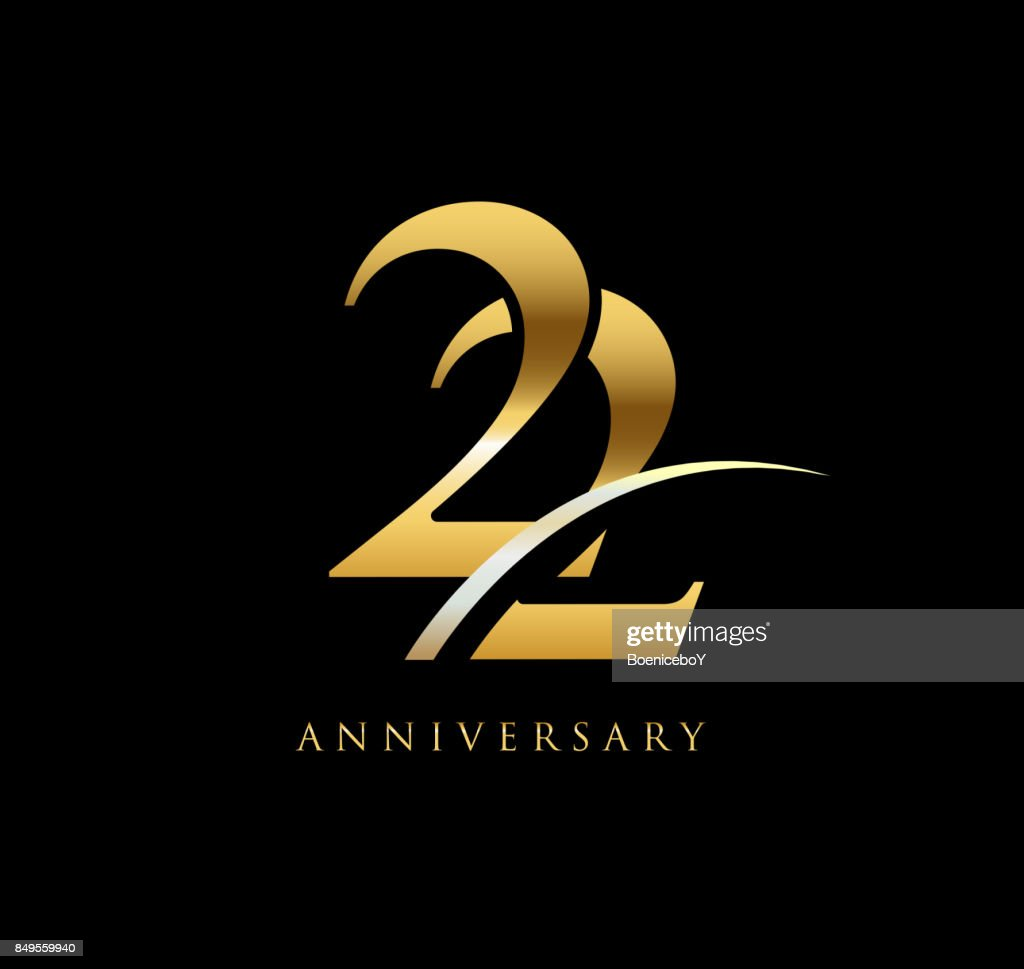 22 years anniversary elegance gold symbol linked number with swoosh