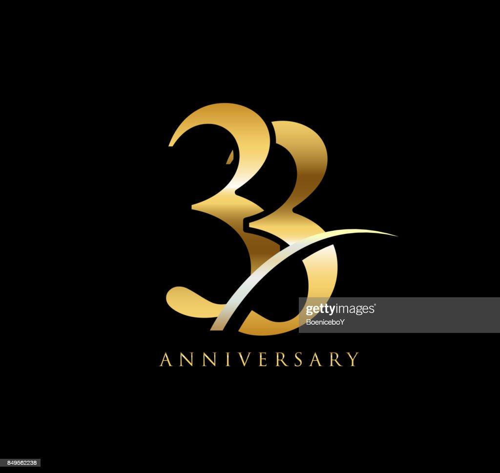 33 Jaar Verjaardag Elegantie Gouden Symbool Gekoppelde Nummer Met