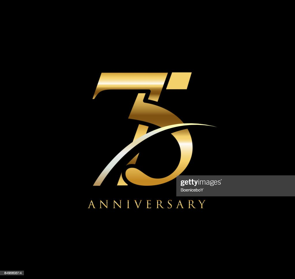 75 Years Anniversary Elegance Gold Symbol Linked Number With Swoosh