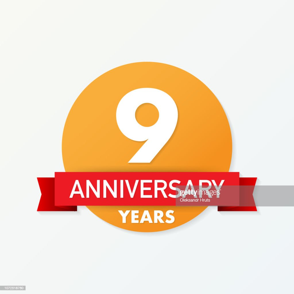 9 years anniversary emblem. Anniversary icon or label. 9 years celebration and congratulation design element.