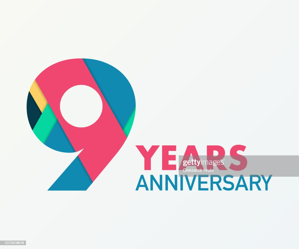 9 years anniversary emblem. Anniversary icon or label. 9 years celebration and congratulation design element