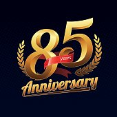 85 Years Anniversary Golden icon Celebration with Red Ribbon