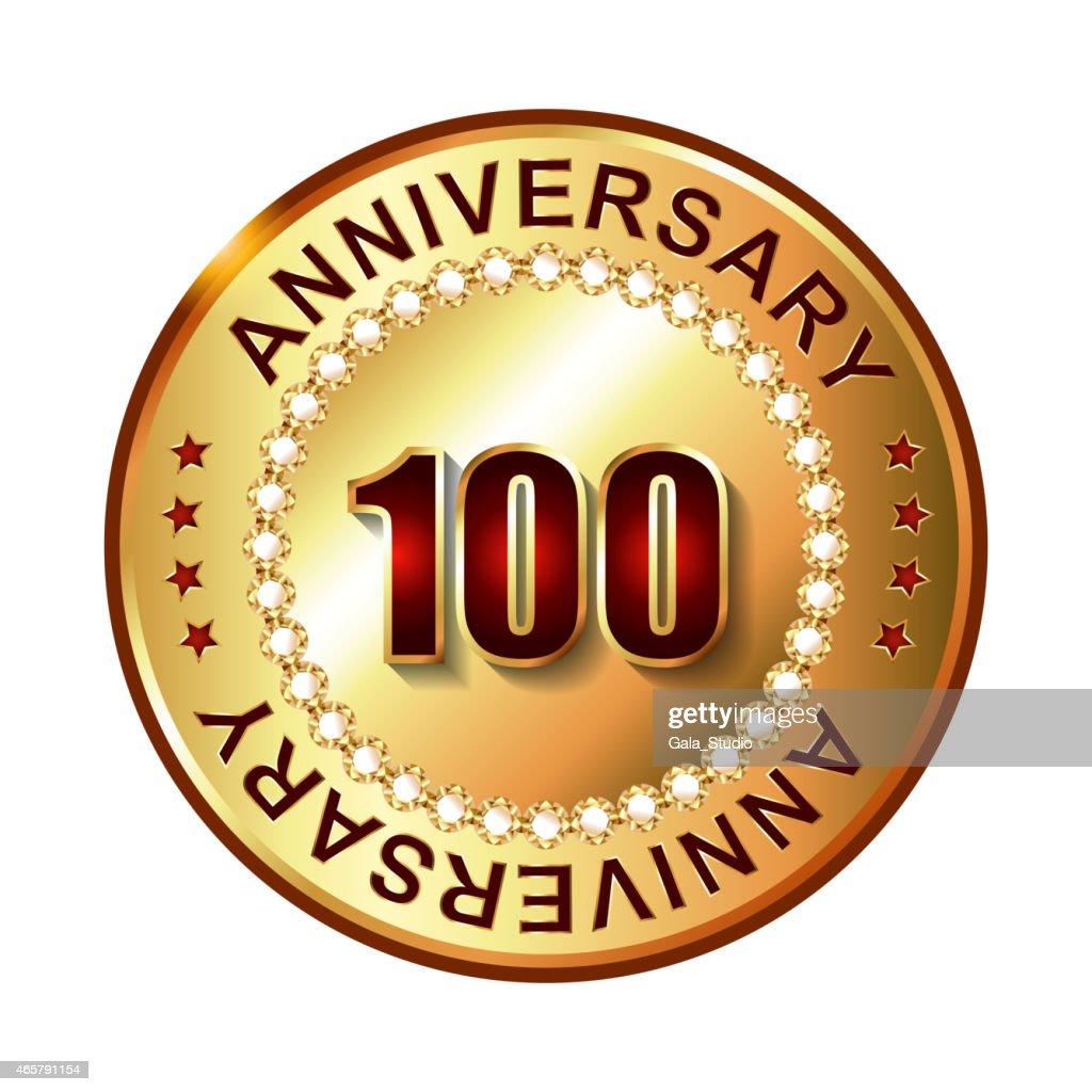 100 Years anniversary golden label.