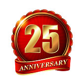 25 years anniversary golden label with ribbon.
