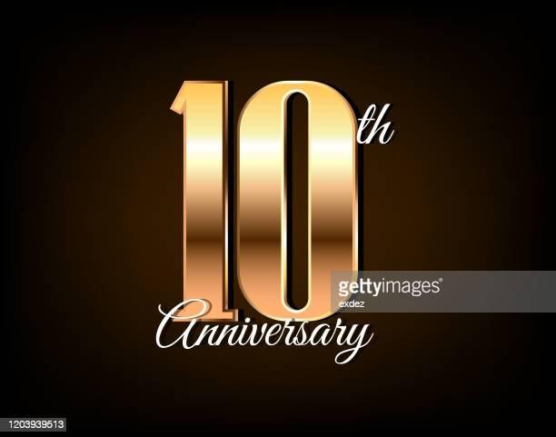 10周年記念ゴールデン - 10周年点のイラスト素材/クリップアート素材/マンガ素材/アイコン素材
