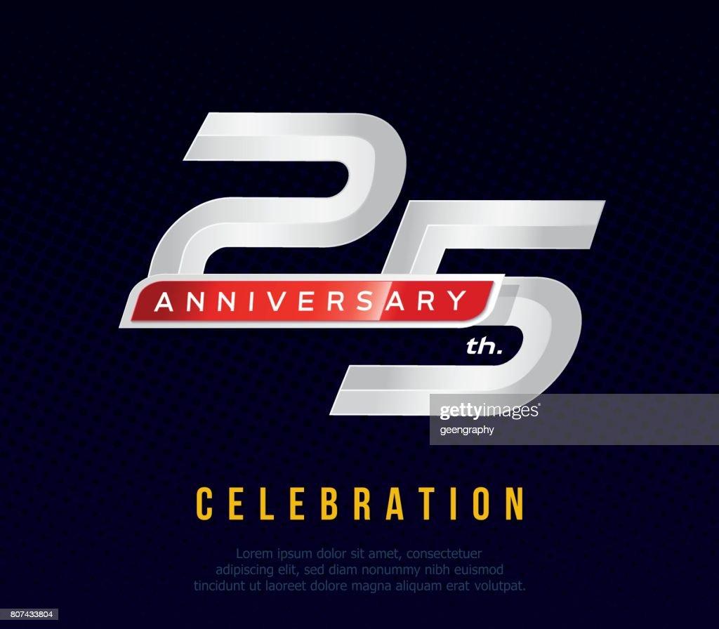 25 years anniversary invitation card, celebration template design, 25th. anniversary icon, dark blue background, vector illustration