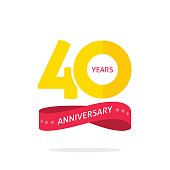 40 years anniversary logo, 40th anniversary icon label with ribbon