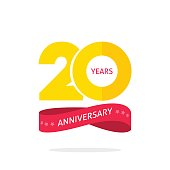 20 years anniversary logo template, 20th anniversary icon label with ribbon