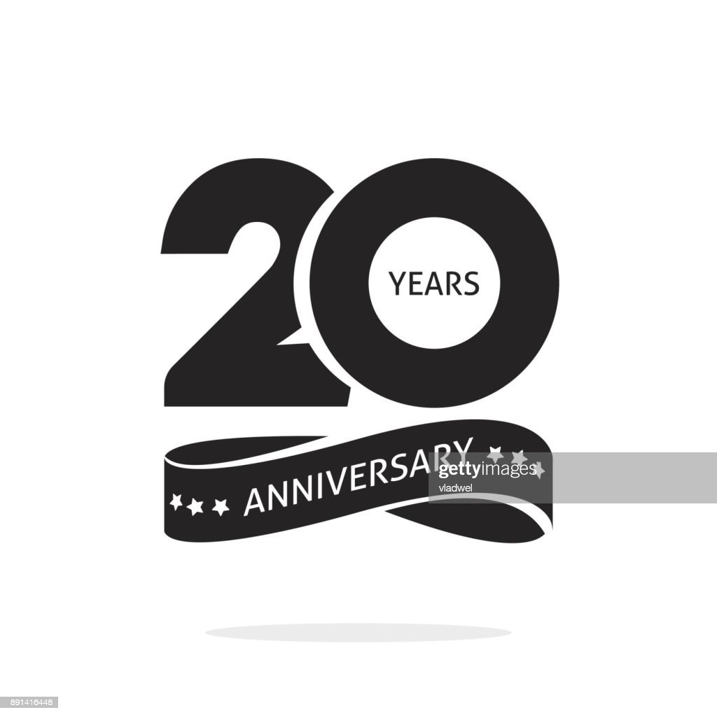 20 years anniversary logo template isolated, black and white stamp 20th anniversary icon label with ribbon, twenty year birthday seal symbol