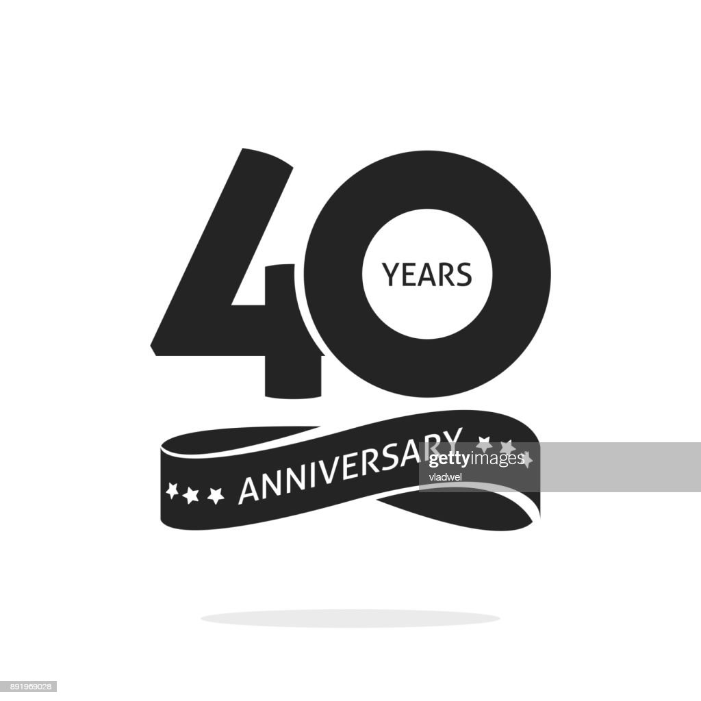 40 years anniversary logo template isolated, black and white stamp 40th anniversary icon label with ribbon, forty year birthday seal symbol