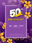 50 years anniversary logo template on golden flower and purple background. 50th celebrating white numbers with gold ribbon vector and bokeh design elements, anniversary invitation template card design