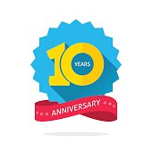 10 years anniversary logo template with shadow on blue color rosette and number