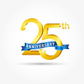 25 years Anniversary logo with blue ribbon isolated on white background.