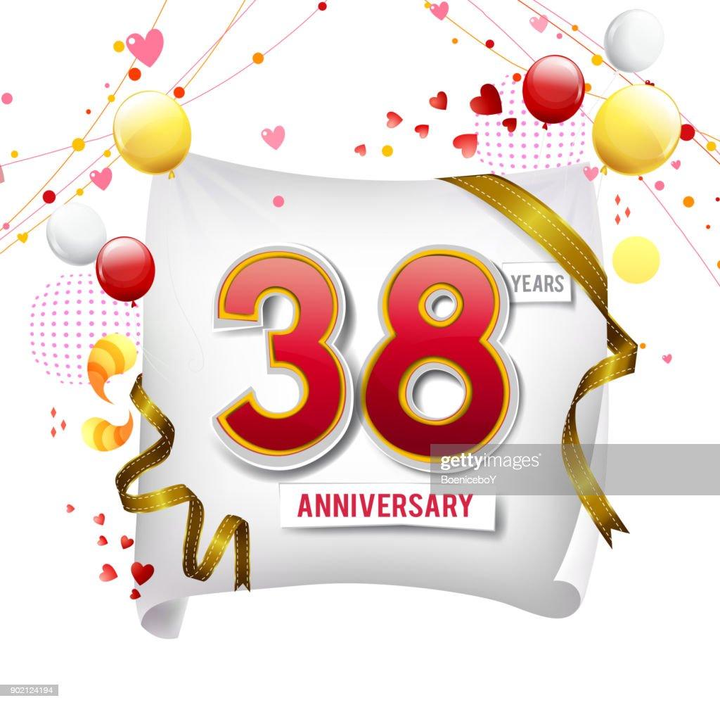 Betere 38 Jaar Verjaardagslogo Met Kleurrijke Abstracte Achtergrond UC-24