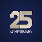 25 years anniversary paper number vector