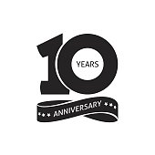 10 years anniversary pictogram vector icon, 10th year birthday logo label