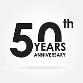 50 years anniversary sign or emblem. Template for celebration and congratulation design. Black vector illustration of  50th anniversary label.