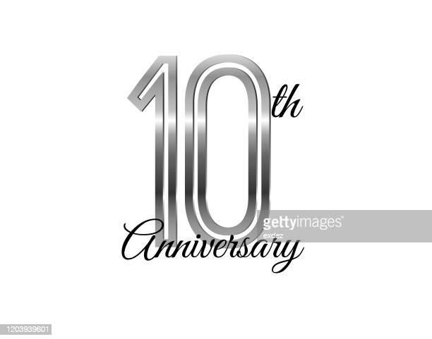 10周年記念銀 - 数字の10点のイラスト素材/クリップアート素材/マンガ素材/アイコン素材