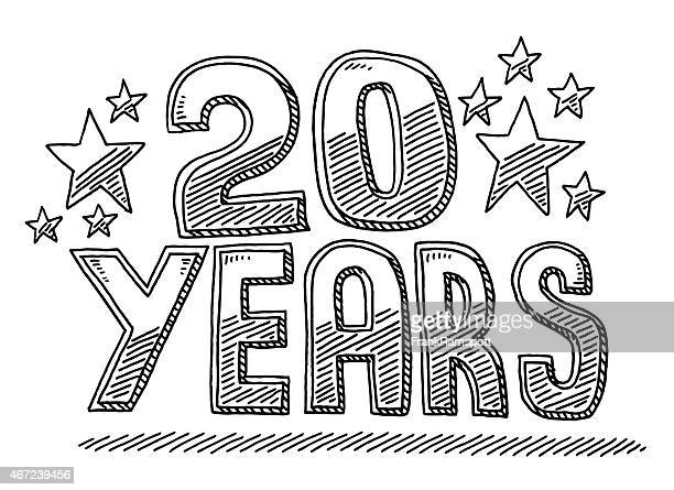 20 Years Anniversary Text And Stars Drawing