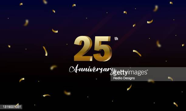 25周年記念ベクトルバナーテンプレート、記念日の背景。ストックイラスト - 紙テープ点のイラスト素材/クリップアート素材/マンガ素材/アイコン素材