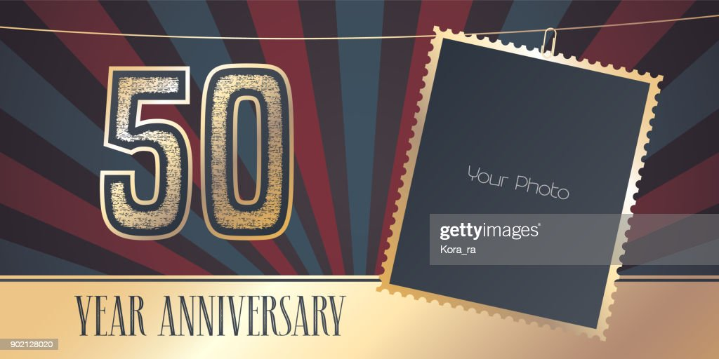 50 years anniversary vector emblem in vintage style