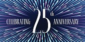 25 years anniversary vector icon, banner