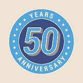 50 years anniversary vector icon, emblem