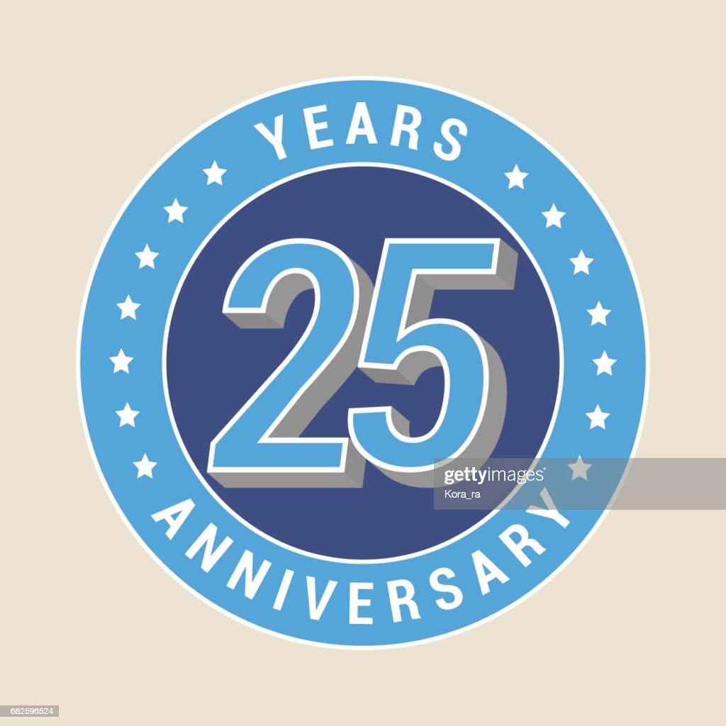 25 years anniversary vector icon, emblem