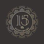 15 years anniversary vector icon, logo