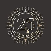 25 years anniversary vector icon, logo