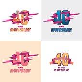 40 years anniversary vector icon set