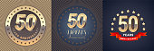 50 years anniversary vector icon set