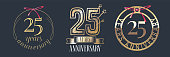 25 years anniversary vector icon set