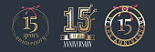 15 years anniversary vector icon set