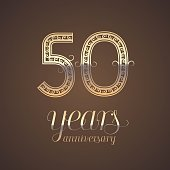 50 years anniversary vector icon,  symbol