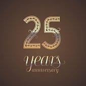25 years anniversary vector icon, symbol