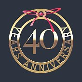 40 years anniversary vector icon, symbol