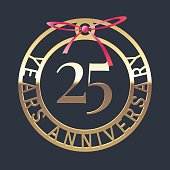 25 years anniversary vector icon, symbol