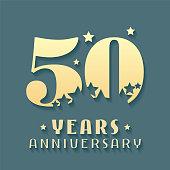 50 years anniversary vector icon, symbol