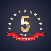 5 years anniversary vector icon