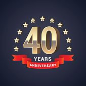 40 years anniversary vector icon