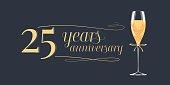 25 years anniversary vector icon,