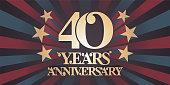 40 years anniversary vector icon,banner