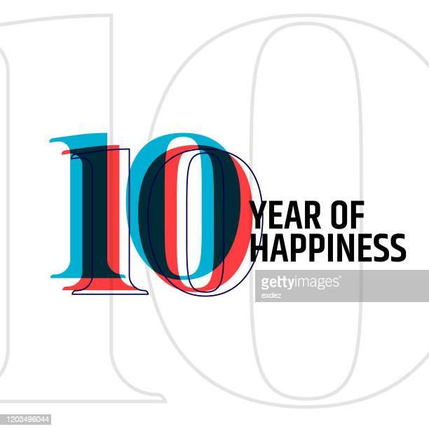 10 jahre jubiläum - jahrestag stock-grafiken, -clipart, -cartoons und -symbole