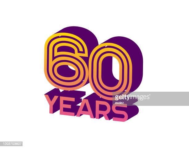 60 years anniversary - 60th anniversary stock illustrations