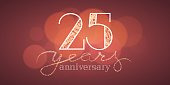 25 years anniversary vector illustration, banner, flyer, icon, symbol, sign